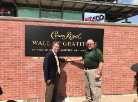 Mayor Hogsett & Gordon Smith at the Wall of Gratitude at the Indy 500 track